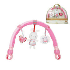 Pink Rabbit  Baby Pram Activity Arch Plush Stroller Toy with Rattle BB Device