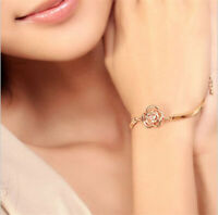 Elegant Women's Crystal Rose Flower Bangle Cuff Bracelet Jewelry Gold jewelry
