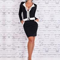 1x Femme Sexy Robe Noir Blanc Manche Longue Moulante Encolure En V Cocktail Club