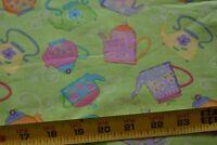 "33"" Long, Tea Pots on Lime-Green Quilt Fabric/Timeless Treasures/Honarvar, N3954"