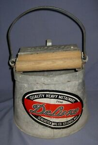 Vintage Deluxe Galvanized Metal Mop/Cleaning Bucket with Wood Rollers!