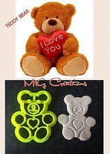 Teddy Bear Love Cookie Cutter Topper Fondant Cake Decoration - uk Seller