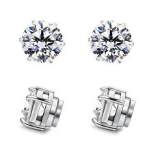 MENS Magnetic CZ Earrings big large Cubic Zirconium clip on no hole Non Piercing