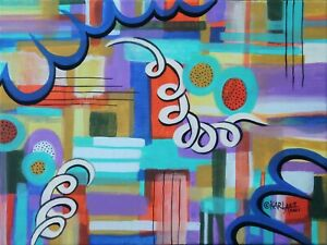 Thursday Abstract 12 x 16 ORIG CANVAS PAINTING Folk ART ABSTRACT Karla Gerard