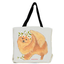 Pomeranian Dog with Flowers Tote Bag