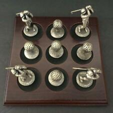 "Golf Pewter and Wood Tic Tac Toe Set 4 2"" Golfers and 5 1"" Golf Balls"
