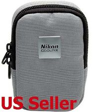 NEW AUTHENTIC NIKON COOLPIX SILVER GREY CASE WITH LOGO COMPACT DIGITAL CAMERAS