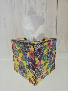 Tissue Box Cover Made W/ Rose and Hubble Candy Skull Fabric Cube Square