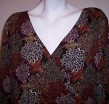 Tesori Top XL Brown Silk Mod Floral Stretch Knit Surplice Shirt Blouse Women's