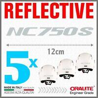 5x Rifrangenti ADESIVI Grigio / Bianco compatibile con NC 750 S HONDA NC750