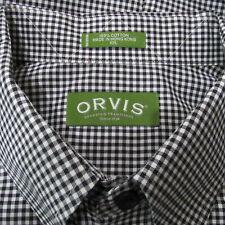 Orvis Mens XXL 2XL Black White Check Button Down Shirt