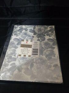 Vintage Silver Metallic Floral Rose Gift Wrap Sheet Bridal Shower 8.33 Sq. Ft.