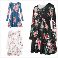 Fashion Women Dress Long Sleeve O-Neck Floral Printed Dress Casual Loose Dresses