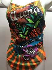 Women's Arena 1 Piece South Beach Swimsuit BRIGHT COLORS Racerback Size 40