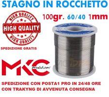 STAGNO IN ROCCHETTO 60/40 100GR. 1MM PER SALDARE SALDATURA HIGH QUALITY