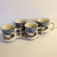 "TIENSHAN Folk Craft ""Cabin In The Snow"" 4 Coffee Mugs Spongeware Christmas"