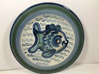 "Louisville Stoneware Sea Life Fish Dinner Plate 11 1/8"" Microwave Safe Kentucky"