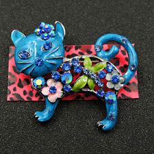 Cat Crystal Charm Brooch Pin Gift Betsey Johnson Blue Rhinestone Cute Flower