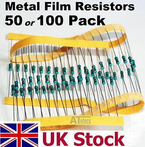 Resistors Metal Film 50, 100 pack, 1/4w 0.25w 1%, many values - UK Stock