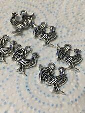6 Silver Tibetan Cockrel Charms