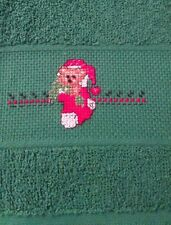 Green Christmas Fingertip Towel  Embroidered Teddy Bear in Stocking Decorative