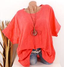 Tunika Oversize Bluse Shirt Stickerei Leinen Look Kette koralle 44 46 48 50 52