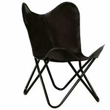 Vintage Butterfly Chair Real Leather Black Kids Size Industrial Furniture Seat