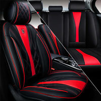 Sport Racing Seat Cushion Microfiber Leather Car SUV 5 Seat Cover Black & Red