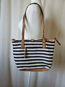 Relic Blue and White Stripe Fabric Beachy Bag. Small. Gently Used.