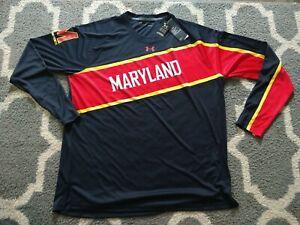 2XL XXL Under Armour Maryland Terrapins basketball long SLEEVE shooting shirt