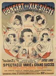 Original Vintage Poster Cheret Concert du XIX Siecle 1876