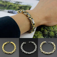 Fashion Men Retro Byzantine Link Stainless Steel Chain Silver Gold Bracelet Gift