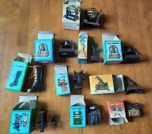 Vintage Miniature Antique Finished Die Cast Pencil Sharpener Lot of 10 w/ Boxes