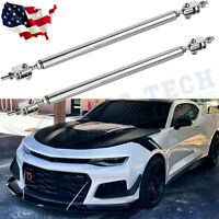Adjustable Front Bumper Lip Splitter Strut Rod Tie Support Bars For Chevy Camaro