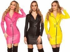 Abito donna elasticizzato similpelle vestito aderente ecopelle zip sexy nuovo #