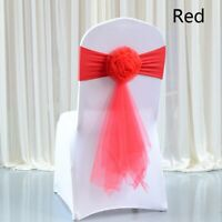 10X Chair Cover Sash Bow Spandex Stretch Tulle Flower Band Wedding Banquet Decor
