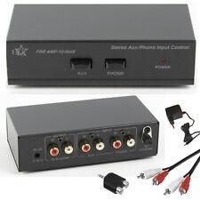 HQ Phono Vorverstärker für Plattenspieler mit AUX LINE Eingang + Kabel + Adapter