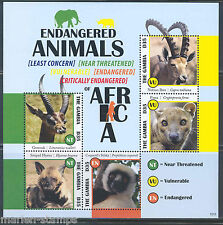 GAMBIA ENDANGERED ANIMALS OF AFRICA  GERENUK HYENA IBEX FOSSA  SHEET MINT NH