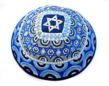 Kippah Yarmulke-Embroidered Kippas Star of David Rainbow Emanuel blue S-8""