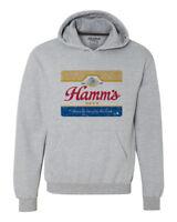 Hamm's Beer Hoodie retro vintage style distressed print grey graphic tee shirt
