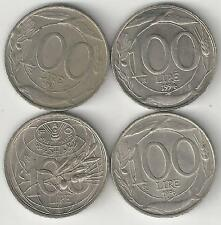 4 DIFFERENT 100 LIRE COINS from ITALY (1993, 1994, 1995 & 1996)...3 w/ DOLPHINS