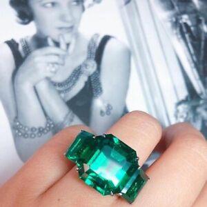 Stunning Asscher & Emerald Shape Dark Green 12.44 Carat Emerald Three Stone Ring