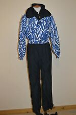 EUC Womens Size 8 FERA Permia Black~Blue~One-Piece Ski Suit~Vintage~Jacket~Coat