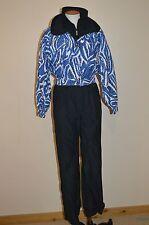 EUC Womens Size 8 FERA Permia Black~Blue~One-Piece Ski Suit~Vintage~Jacket~Coat