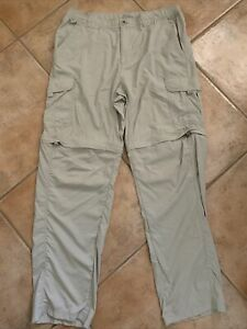 Columbia Mens TITANIUM Sz L Beige Convertible Zip Off Pants Omni-Dry Cargo Nylon