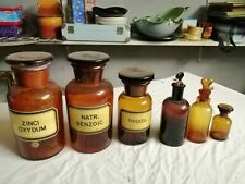 Lot de 6 anciens bocaux de pharmacie en verre brun avec bouchons en verre, 3 ave