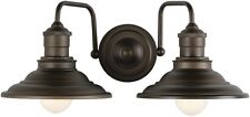 Rustic Bathroom Vanity Double Light Fixture Aged Bronze Industrial Farmhouse