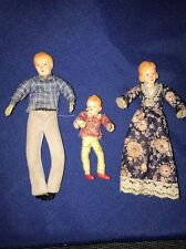 Vintage Mid Century Wired Bendable Miniature Dolls Family