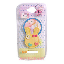FUNDA TAPA GEL DIBUJO PARA ALCATEL TOUCH POP C7 CONEJO DE TELA CON BRILLANTES