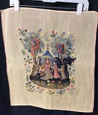 Vintage Tapestry Petite Point Needlepoint Renaissance (b)
